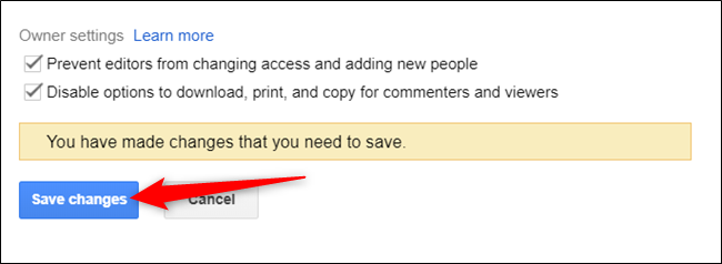 click on save changes