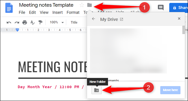 create a new folder to save the template