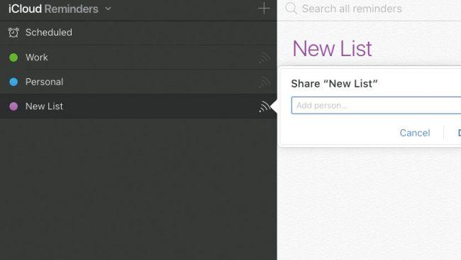 iCloud reminders new list
