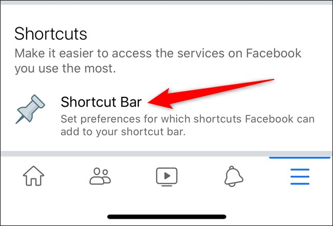 shortcut bar settings
