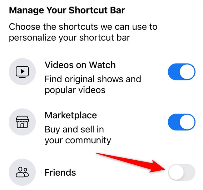 toggle off the icon to remove it from shortcut bar
