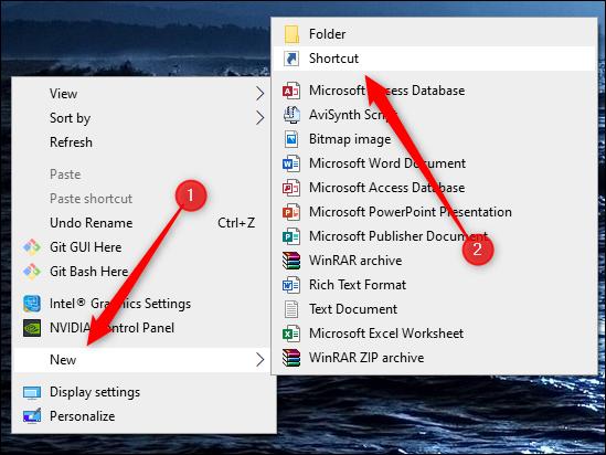 create a new shortcut on desktop