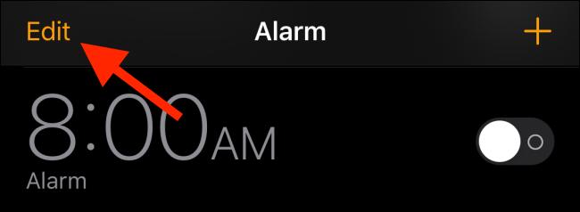 tap on edit option to edit the alarm