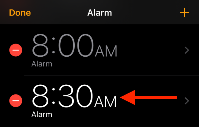 tap on the alarm to edit it