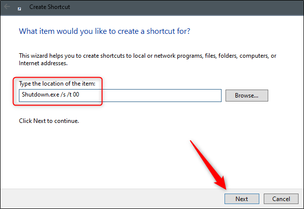 type the command to create the shutdown shortcut