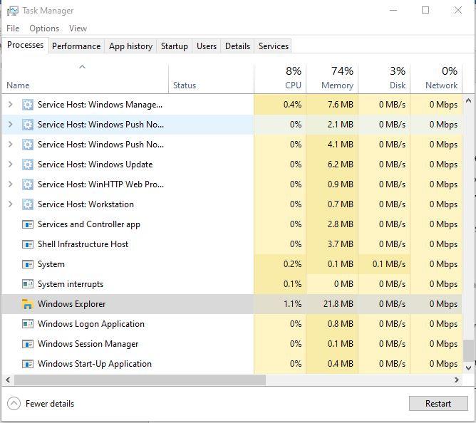 Restart the Windows explorer through Task Manager
