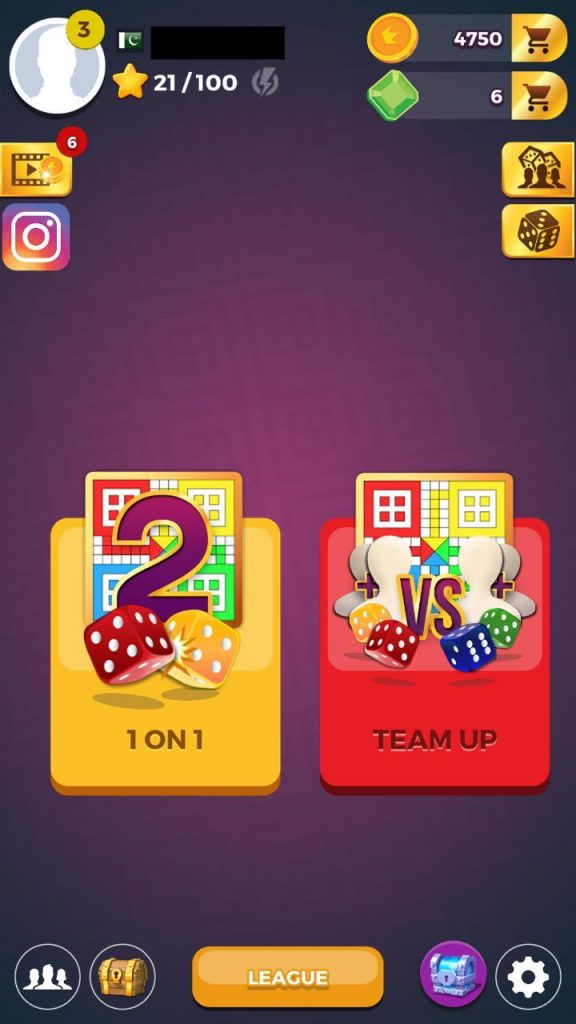 Play 1 on 1 or Team up in ludo star