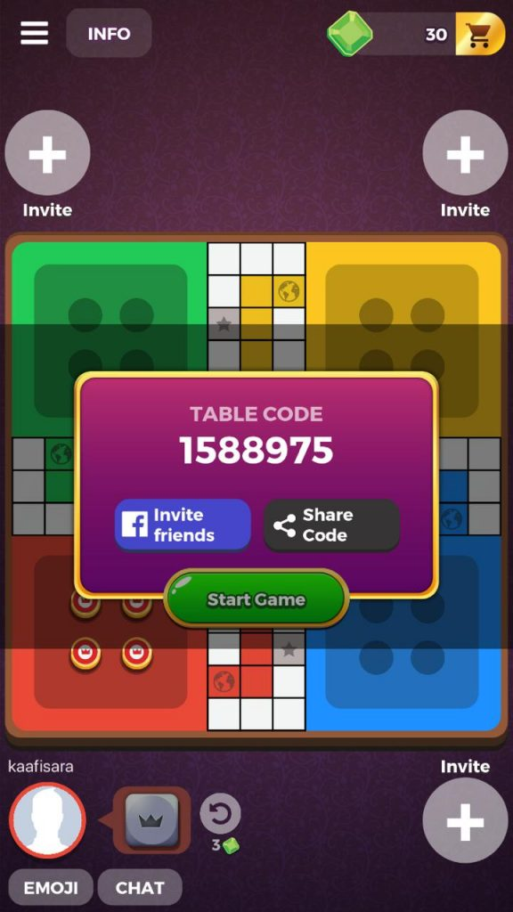Share the ludo star code in team up and private table