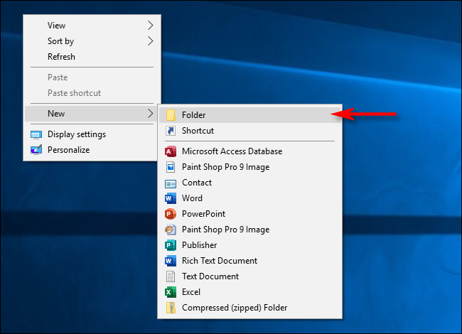 create a new folder on windows 10 desktop