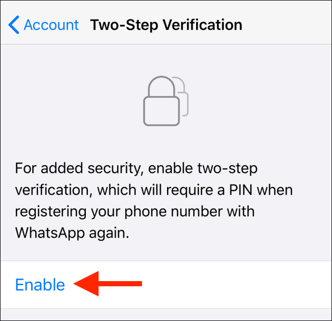 enabling two step verification for whatsapp