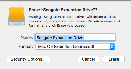 erase the external drive
