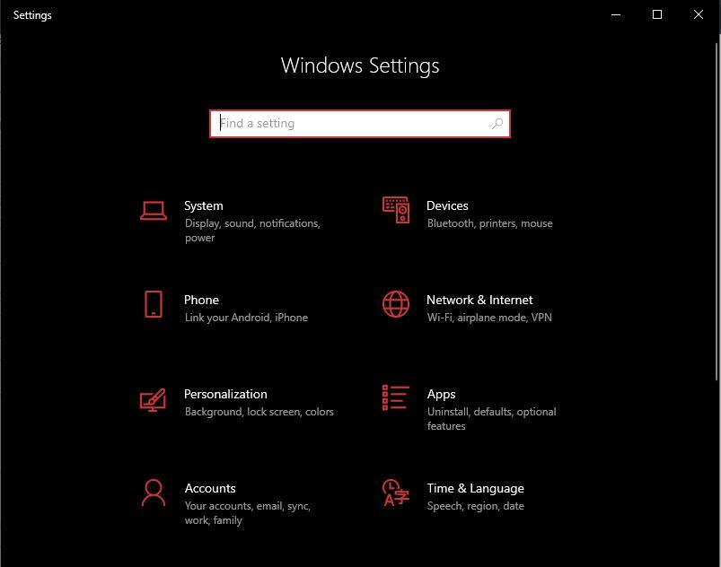 go to windows settings