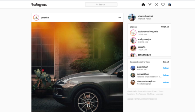 Instagram news feed on web app