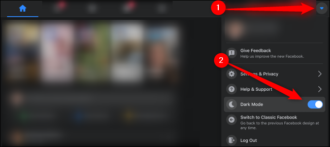 Toggle on the dark mode to activate it for facebook