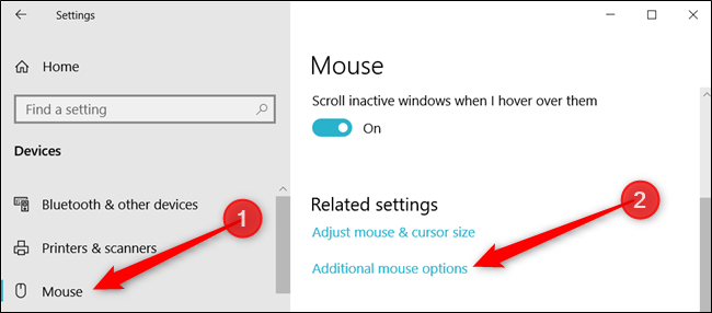 click on mouse settings