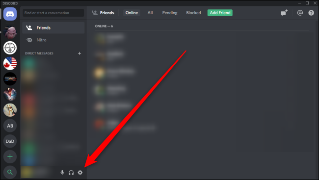 click on the gear icon to open settings in discord