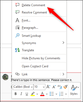 delete a comment in word document