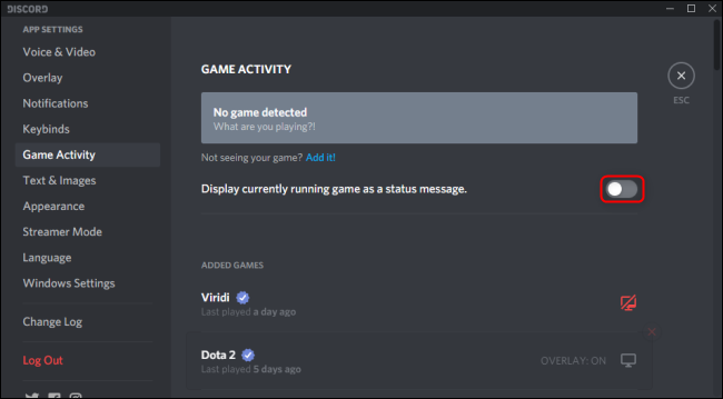 display currently running game as stauts in discord option