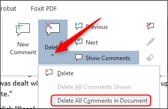 drop down arrow under the Delete option in review section