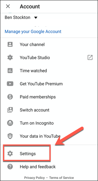 go to settings in youtube account on android
