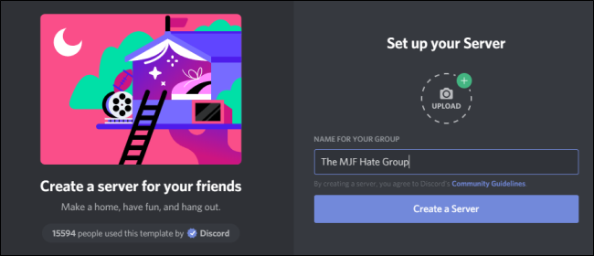 set up your server in discord