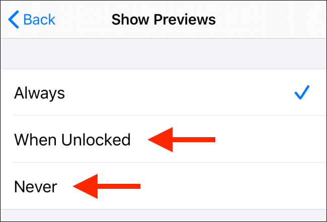 show previews when unlocked or never
