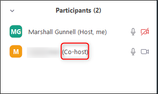co-host label next to the user's name