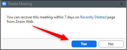 confirm if you want to delete the zoom meeting