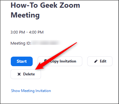 delete upcoming meeting in zoom