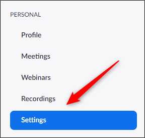 go to settings in Zoom