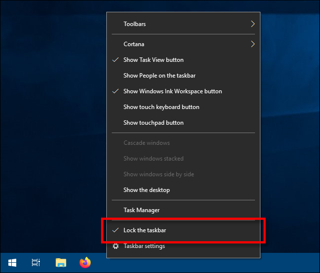 lock the taskbar option in windows 10