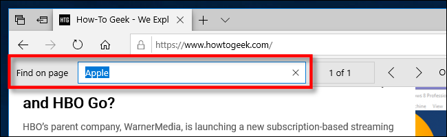 searching for text in microsoft edge on Microsoft Edge