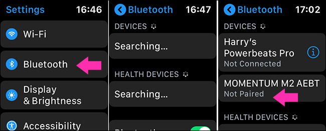 turn on bluetooth on Apple Watch