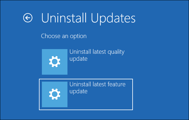 uninstall latest feature update from uninstall update window