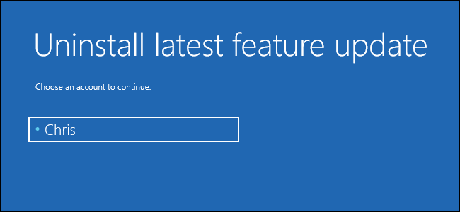 uninstall latest feature update from windows 10