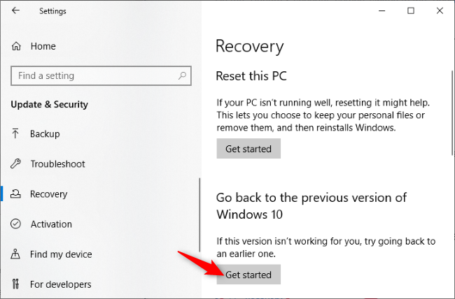 uninstall the windows update from settings