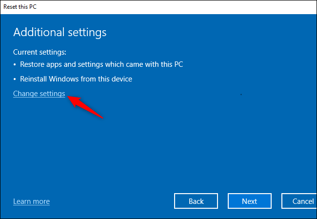 Change settings on reset this PC
