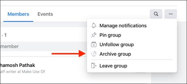 archive option on facebook group