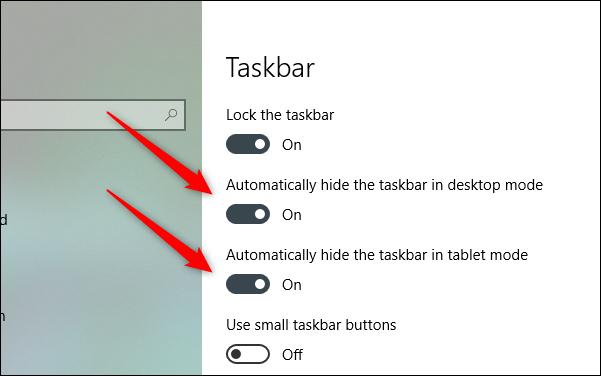 automatically hide the taskbar in windows 10