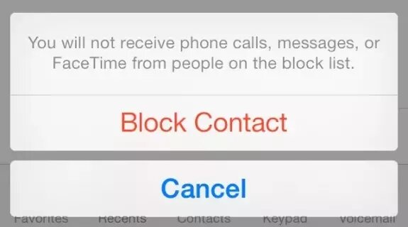 block contact option