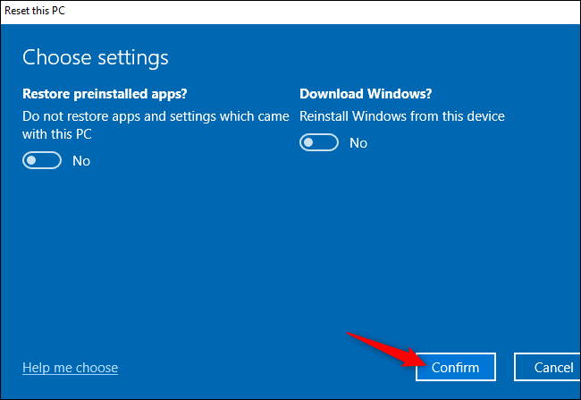 confirm the reset this PC settings