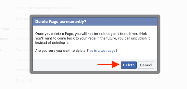 delete page on facebook