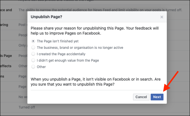 give the reason for deletion of facebook page