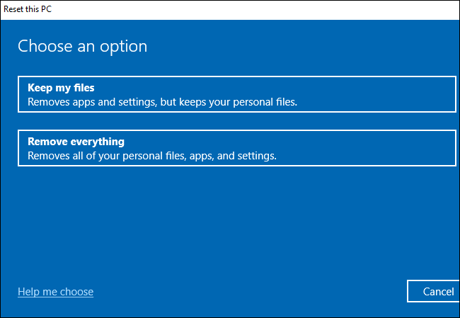 keep or remove files during reset this pc