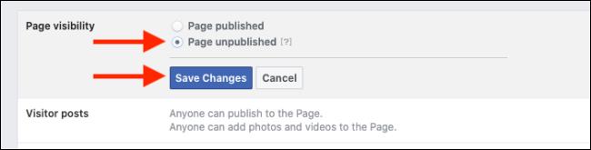 page unpublished option