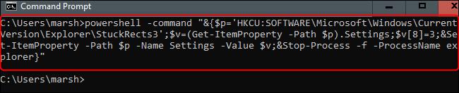 run the command to hide the taskbar automatically