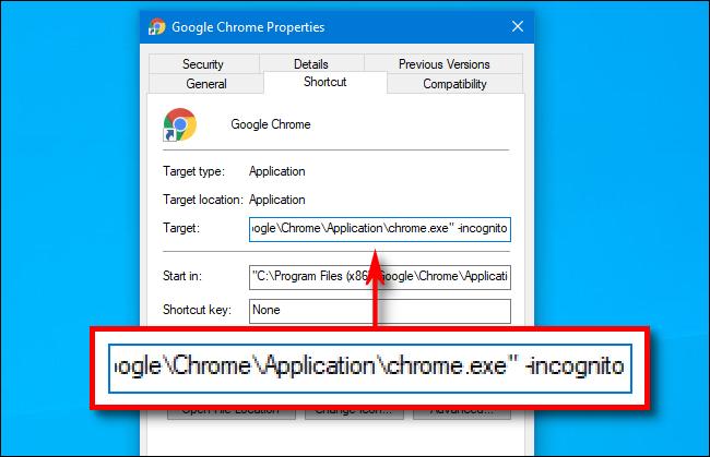 target path of google chrome shortcut