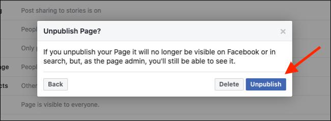 unpublishing page on facebook