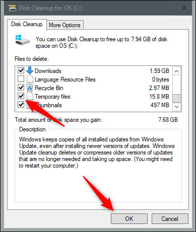 Clean up system files on windows 10