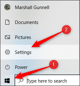 Windows Settings in Windows 10